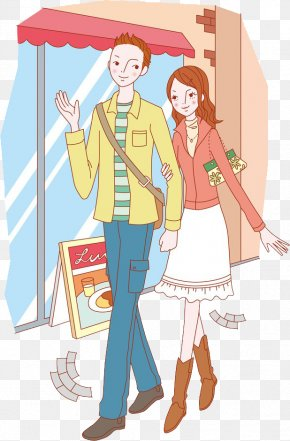 Hand-painted Cartoon Couple Shopping Illustration - Cartoon Significant Other Illustration PNG
