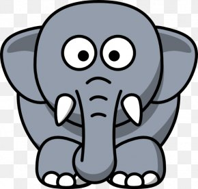 Grey Elephant Cliparts - Cartoon Elephant Drawing Clip Art PNG