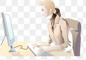 Vector Woman Working - Laptop Computer Graphics PNG