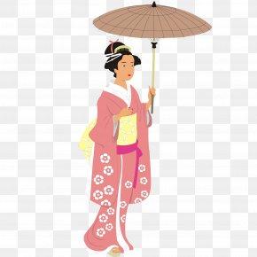Cartoon Sakura Japanese Woman - Japan Kimono Illustration PNG