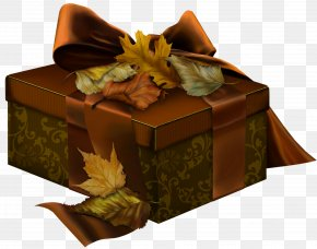 Brown 3D Present With Autumn Leaves Clipart - Mid-Autumn Festival Gift Autumn Street Christmas PNG