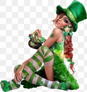 Saint Patrick's Day - Saint Patrick's Day Leprechaun Woman Clip Art PNG