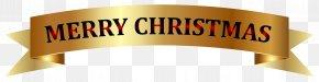 Golden Merry Christmas Banner Clip-Art Image - Christmas Banner Clip Art PNG