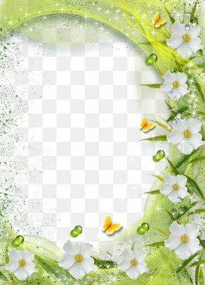 White Flower Frame Transparent Background - Picture Frame Flower PNG