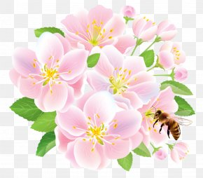 Pink Spring Flowers With Bee - Flower Delivery Floristry Studio Ghibli PNG