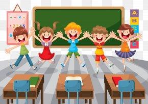 Cartoon Elementary School Classroom - Student School Classroom Education Illustration PNG