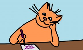 Animated Writing Cliparts - Cat Free Writing Clip Art PNG