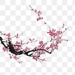 Pink Peach Chinese Style Decorative Patterns - Ink Wash Painting Plum Blossom Chinese Painting PNG