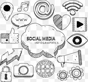 Hand-painted Social Media - Social Media Marketing Infographic Euclidean Vector Icon PNG