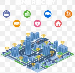 Vector Blue Building Floor - Smart City Smart Grid Internet Of Things Illustration PNG