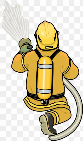 Hand-painted Cartoon Fireman - Firefighter Fire Extinguisher Animation Firefighting PNG