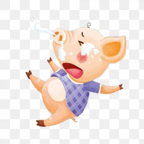 A Cartoon Crying Piglet With Runny Nose - Domestic Pig Nose Rhinorrhea Clip Art PNG