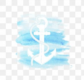 Blue Anchor - Watercolor Painting Anchor PNG