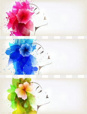 Watercolor Woman Flower BANNER Vector - Watercolor Painting Poster PNG