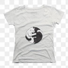 Yin Yang Cat - T-shirt Clothing Sleeve Scoop Neck PNG