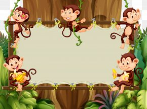 Cute Cartoon Animals Vector Material Borders - Cartoon Monkey Illustration PNG