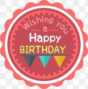 Red Birthday Celebration Label PNG