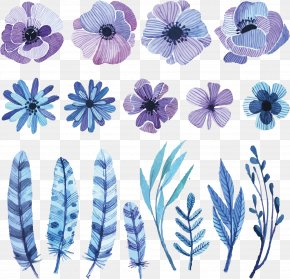 Vector Watercolor Flowers - Flower Watercolor Painting Drawing Sketch PNG