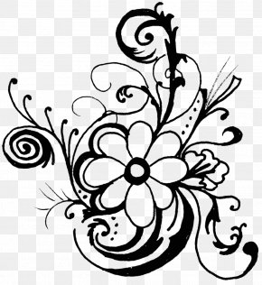 Flower Clip Art - Flower Black And White Floral Design Clip Art PNG