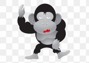Vector Cute Gorilla - Bumper Sticker Feces Decal Rectangle PNG