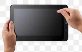 Hand Holding Tablet - IPad Android Mobile Device Touchscreen PNG