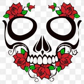 Art Skull Roses Butterflies - Calavera Human Skull Symbolism Clip Art Rose PNG