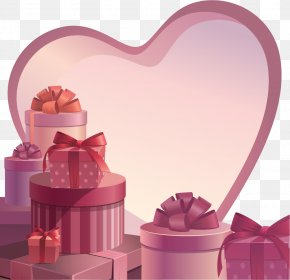 Valentine's Day Poster Background Material Psd - Paper Valentine's Day Gift Box PNG