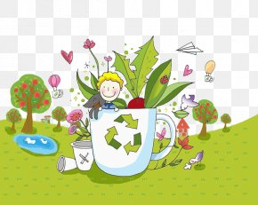 The Child Is In The Cup - Floral Design Drawing Stock Photography Illustration PNG
