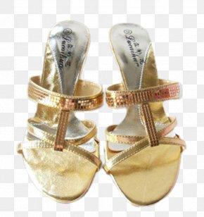 Golden Sandals - Flip-flops Sandal Shoe High-heeled Footwear PNG