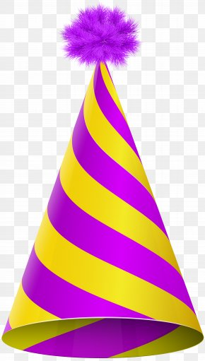 Party Hat Purple Yellow Transparent Clip Art Image - Party Hat Birthday Clip Art PNG