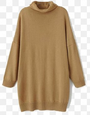 Long Vest Knit - Beige Sleeve Neck Wool PNG