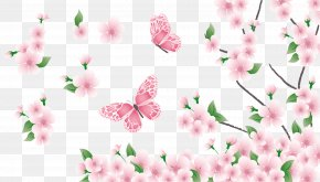 Spring Branch With Pink Flowers And Butterflies Clipart - Spring Clip Art PNG