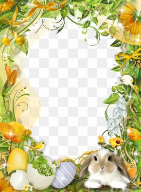 Frame Template Design Pattern - Easter Bunny Picture Frame Photography PNG
