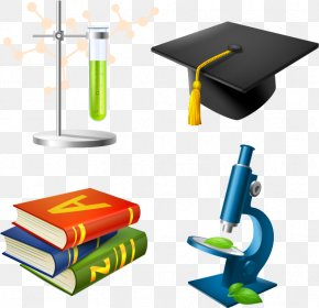 Vector Hat And Books - Microscope Laboratory Royalty-free Illustration PNG