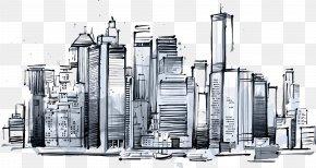 Manhattan Skyscrapers - Manhattan Skyline New York Sketch Icon PNG