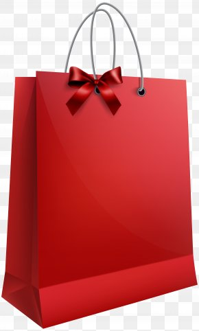 Red Shopping Bags - Christmas Gift Bag Clip Art PNG