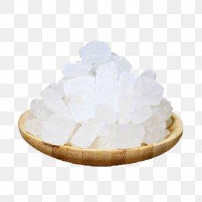 White Crystal Sugar Wooden Dish Of - Rock Candy Sugar Crystal PNG