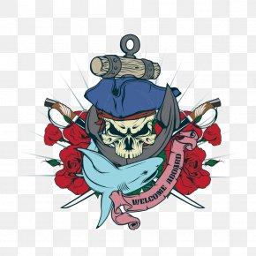 Vector Sharks And Pirates Skull - Cartoon Piracy Illustration PNG
