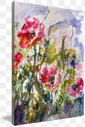 Watercolor PAINTING PINK - Floral Design Watercolor Painting Gallery Wrap Art Flower PNG