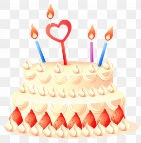 Cake With Strawberries And Candles Clipart - Birthday Cake PNG