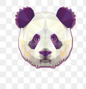 Lattice Panda - Giant Panda Bear Red Panda Geometry Poster PNG