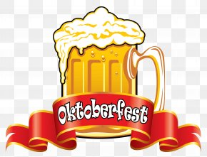 Oktoberfest Red Banner With Beer Clipart Image - Oktoberfest Beer Glassware German Cuisine Clip Art PNG