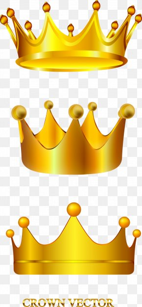 Vector Hand Painted Gold Crown - Clip Art PNG