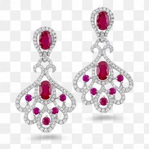 Earring - Earring Ruby Diamond Jewellery Carat PNG