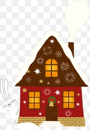 Rabbit And House - Gingerbread House Candy Cane Christmas Clip Art PNG