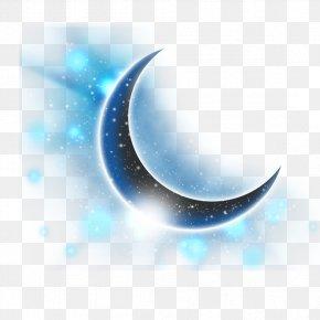 Fantasy Blue Crescent - Light Download Computer File PNG