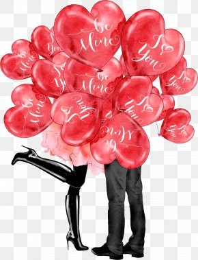 Lovers Under Love Balloons - Paris Love Valentines Day Heart Clip Art PNG