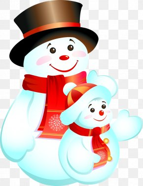 Lovely Hand-painted Red Winter Snowman Pull Material Free - Santa Claus Christmas Reindeer Snowman PNG