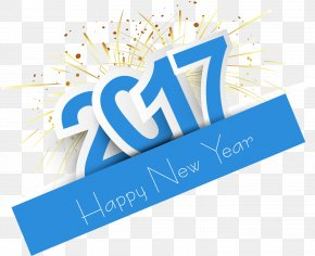 Sky Blue Sticker Effect 2017 - New Year's Day New Year's Eve Wish New Year Card PNG