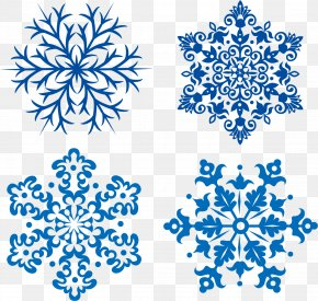 Blue Snowflakes Vector Winter Snow - Snowflake Euclidean Vector PNG